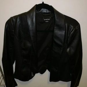 bebe Cropped leather jacket Small
